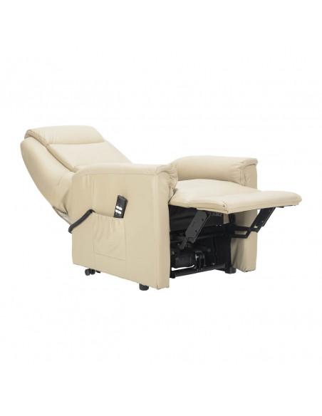 Sillón electrico 2 mot reclinación independiente, levantapersona, asiento no deformable, tapizado en cuero, tamaño small