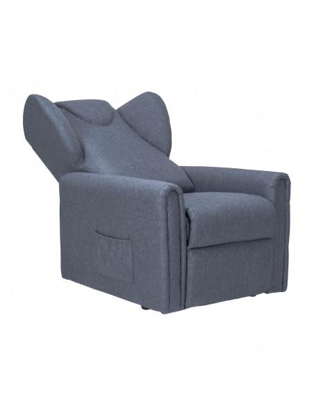 Sillón reclinable con 2 motores, levantapersona, asiento no deformable, cómodas orejas laterales, antimancha, tamaño medio
