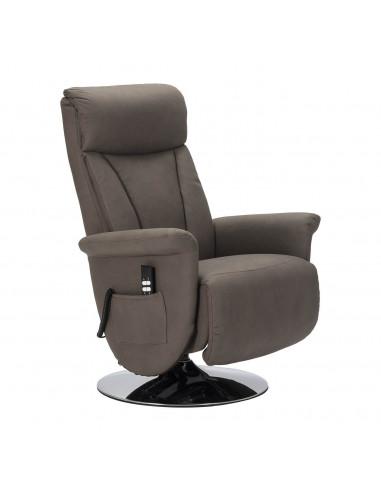 Sillón reclinable de diseño 2 mot., Movimiento de la espalda / pie independiente, levantapersona, girable, tejido efecto cuero